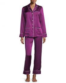 Olivia Von Halle Coco Mulberry Long Silk Pajama Set at Neiman Marcus 3676fcafc