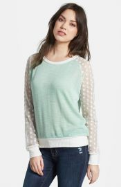 Olivia Moon Sheer Sleeve Sweater at Nordstrom