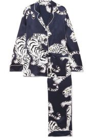 Olivia von Halle - Lila printed silk-satin pajama set at Net A Porter