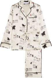 Olivia von Halle   Lila printed silk-satin pajama set at Net A Porter