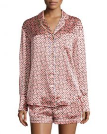 Olivia von Halle Alba Mizuki Printed Shorty Pajama Set Coral at Neiman Marcus