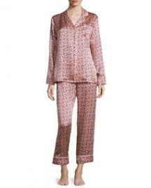 Olivia von Halle Lila Mizuki Printed Long-Sleeve Pajama Set Pink at Neiman Marcus