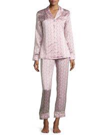 Olivia von Halle Lila Saori Printed Long-Sleeve Pajamas at Neiman Marcus