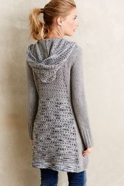 Ombre-Stitch Hooded Sweater in grey at Anthropologie