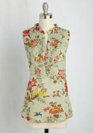 On Your Roam Time Cotton Tunic in Aviary at ModCloth