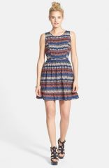 One Clothing Aztec Print Skater Dress at Nordstrom