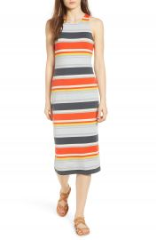 One Clothing Stripe Midi Dress at Nordstrom