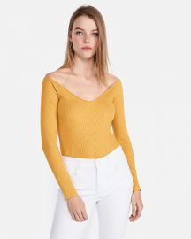 One Eleven Modern Rib Off The Shoulder Tee at Express