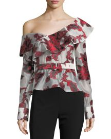 One-Shoulder Floral Fil Coupe Top by Self Portrait at Neiman Marcus