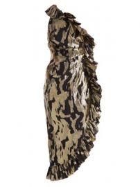 One-shoulder ruffle-trimmed silk-blend dress at Matches