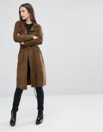 Only Jennifer GD Faux Suede Trench Coat at asos com at Asos