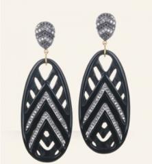 Onyx Open Weave Earrings at Danielle Queller