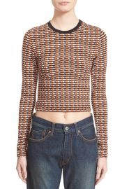 Opening Ceremony Check Stretch Long Sleeve Crop Top at Nordstrom