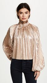 Opening Ceremony Foil Pleated Bishop Sleeve Top at Shopbop