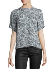 Opening Ceremony Komondor Silk Boxy Top Black Multi at Neiman Marcus
