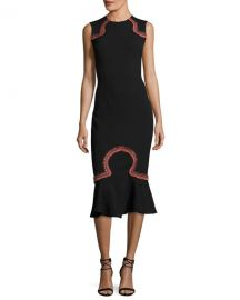 Opening Ceremony Lotus Embroidered Sleeveless Midi Dress at Neiman Marcus