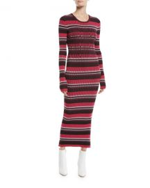 Opening Ceremony Striped Rib-Knit Long-Sleeve Midi Dress at Neiman Marcus
