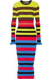 Opening Ceremony Striped ribbed knit midi dress at Net A Porter