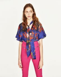 Oriental Print Bodysuit at Zara
