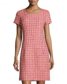 OscaOscar de la Renta Tweed Cap-Sleeve Sheath Dress in Ruby at Last Call