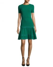 Oscar de la Renta Short-Sleeve Lace-Trim Dress  Green at Neiman Marcus
