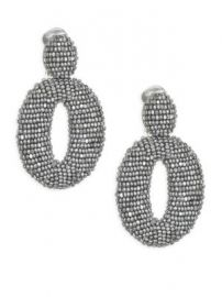 Oscar de la Renta - Classic Oscar Beaded O Clip-On Earrings at Saks Fifth Avenue