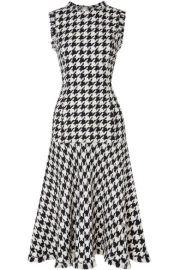 Oscar de la Renta   Fringed houndstooth wool-blend tweed dress at Net A Porter