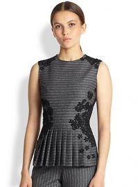 Oscar de la Renta - Lace Appliquand233 Pinstripe Top at Saks Fifth Avenue