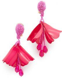 Oscar de la Renta  Impatiens Flower Clip On Drop Earrings at Shopbop