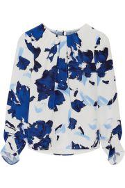 Oscar de la Renta  Printed silk crepe de chine blouse at Net A Porter