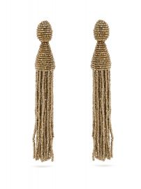 Oscar de la Renta Bead-embellished tassel-drop clip-on earrings at Matches