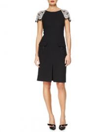 Oscar de la Renta Floral Crystal-Embroidered Stretch-Wool Dress at Neiman Marcus