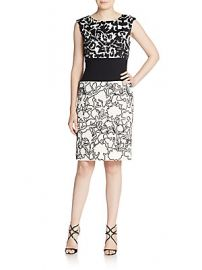 Oscar de la Renta Floral Wool Day Dress at Saks Off 5th