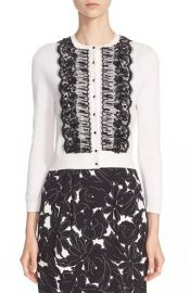 Oscar de la Renta Hand Beaded Lace Trim Wool Silk Cardigan at Nordstrom