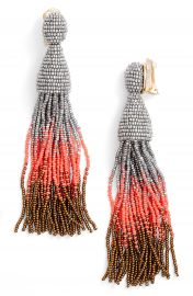 Oscar de la Renta Ombr   Long Tassel Clip Earrings at Nordstrom