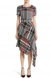 Oscar de la Renta Plaid Asymmetrical Dress at Nordstrom