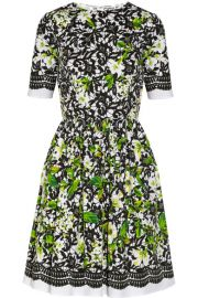 Oscar de la Renta Printed stretch-cotton poplin dress at Net A Porter