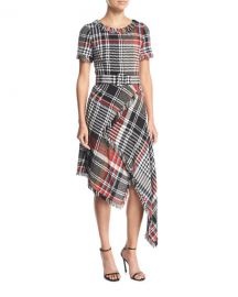 Oscar de la Renta Round-Neck Asymmetric Plaid Tweed Dress at Neiman Marcus