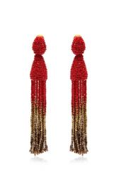 Oscar de la Renta Tassel Ombre Earrings in Claret at Moda Operandi