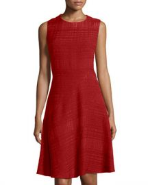 Oscar de la Renta Textured Dress in red at Last Call