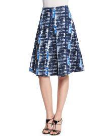 Oscar de la Renta Watercolor Plaid Pleated A-Line Skirt at Neiman Marcus