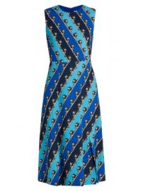 Osmond striped lion-print crepe dress at Matches