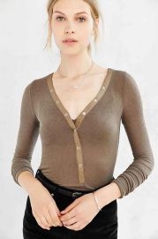 Out From Under Woven Placket Henley Top at Urban Outfitters