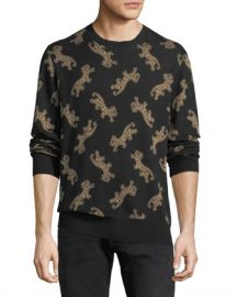 Ovadia  amp  Sons Men  x27 s Leopard Jacquard Sweater at Neiman Marcus