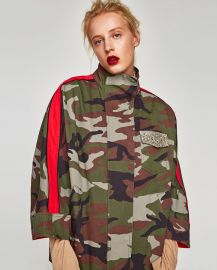 Overshirt with contrasting bands at Zara