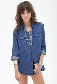 Oversized Denim Shirt  Forever 21 - 2000119065 at Forever 21