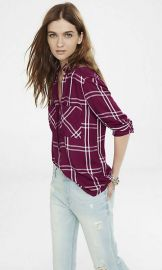 Oversized Windowpane Plaid Shirt at Express