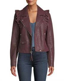 PAIGE Annika Zip-Front Ruffled-Trim Lamb Leather Moto Jacket at Neiman Marcus