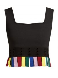 PARADISE CUT-OUT FRINGED CROP TOP STAUD at Matches