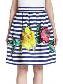 PAROSH - Floral-Embellished Striped Skirt at Saks Fifth Avenue